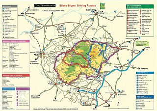 Map of Slieve Bloom mountain driving routes